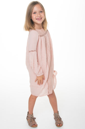 Light Pink Lace Detail Dress - Kids Wholesale Boutique Clothing, Dress - Girls Dresses, Yo Baby Wholesale - Yo Baby