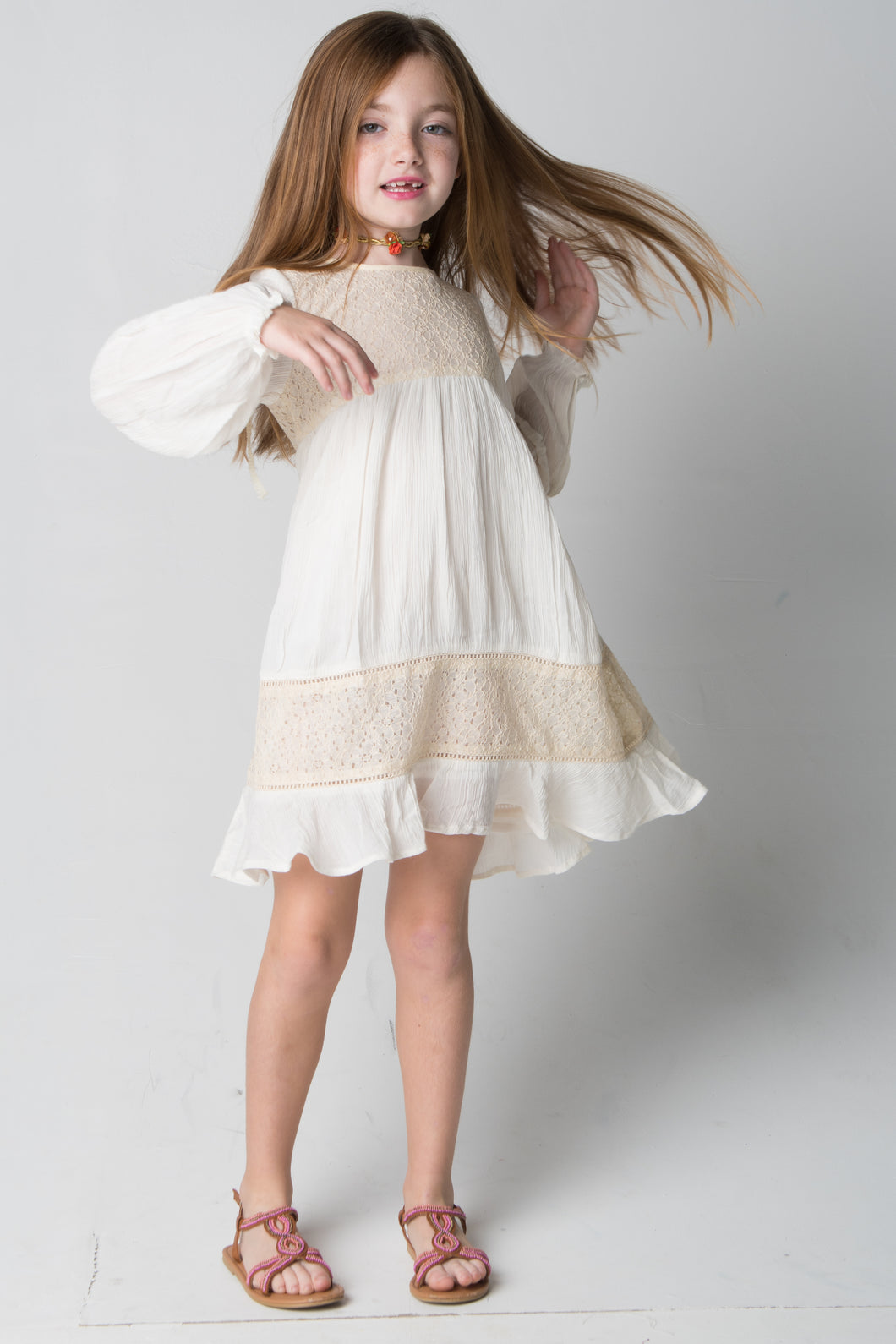 Ivory Lace Detail Dress - Kids Wholesale Boutique Clothing, Dress - Girls Dresses, Yo Baby Wholesale - Yo Baby