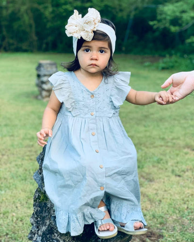 Embroidered Powder Blue Flutter Sleeve Dress With Diaper Cover