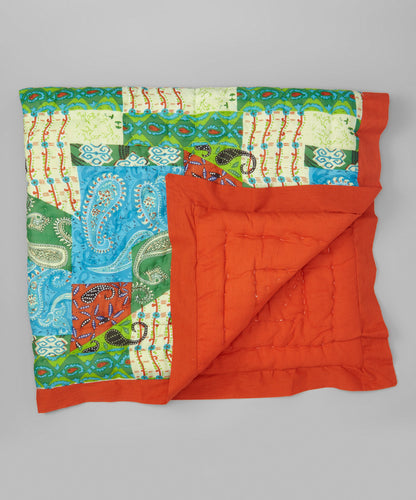 Aqua Paisley Print With Orange Trim Blanket - Kids Wholesale Boutique Clothing, Blanket - Girls Dresses, Yo Baby Wholesale - Yo Baby
