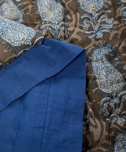 Cobalt Blue-Trim Grey Paisley Quilted Blanket