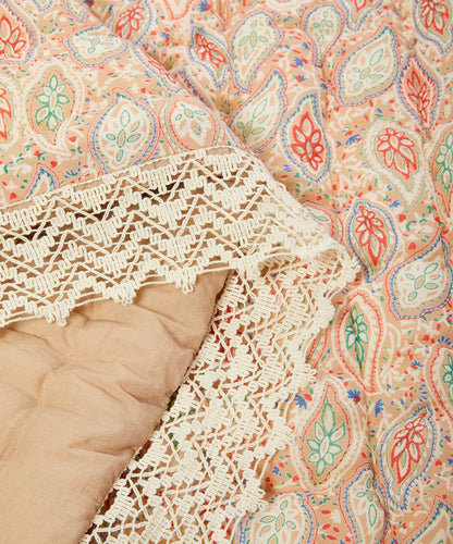 Lace-Trim Paisley Quilted Blanket