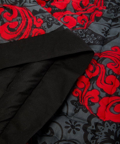 Charcoal-Trim & Scarlet Abstract Quilted Blanket