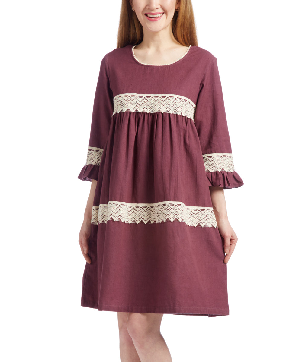 Burgundy Lace Detail Shift Dress - Kids Wholesale Boutique Clothing, Dress - Girls Dresses, Yo Baby Wholesale - Yo Baby