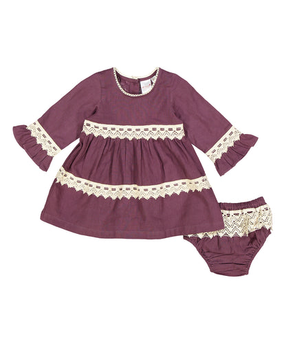 Burgundy With White Lace Detail Swing Dress - Kids Wholesale Boutique Clothing, Dress - Girls Dresses, Yo Baby Wholesale - Yo Baby