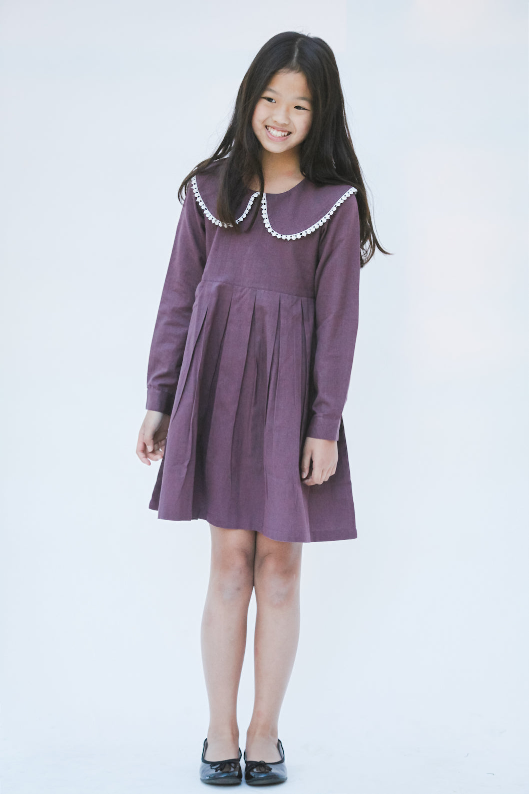Aubergine Big Peter Pan Collar Lace Detail Dress - Kids Wholesale Boutique Clothing, Dress - Girls Dresses, Yo Baby Wholesale - Yo Baby