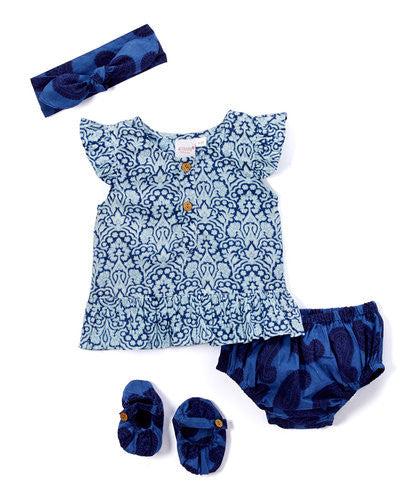 Blue Paisley 5 pc. Set - Kids Wholesale Boutique Clothing, 5-pc. Set - Girls Dresses, Yo Baby Wholesale - Yo Baby