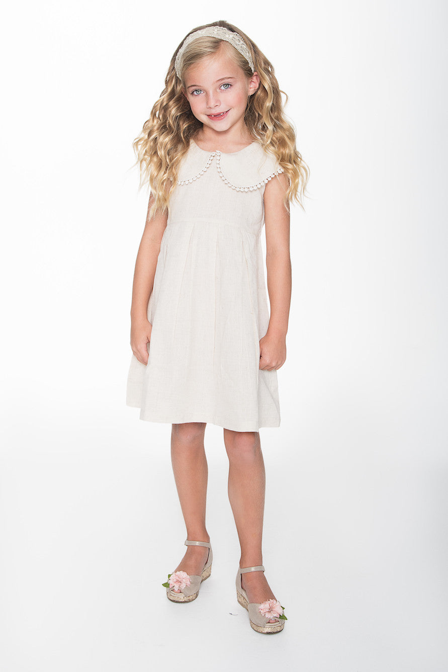 Off White Big Peter-pan Collar with Lace Details Dress - Kids Wholesale Boutique Clothing, Dress - Girls Dresses, Yo Baby Wholesale - Yo Baby