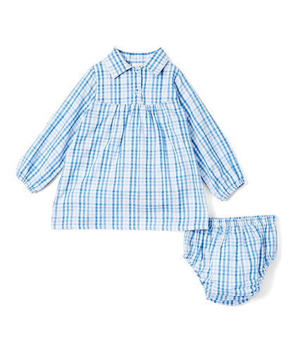 Blue Checks Infant Shirt Dress - Kids Wholesale Boutique Clothing, Shirt-Dress - Girls Dresses, Yo Baby Wholesale - Yo Baby
