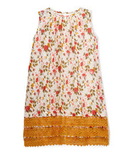 White and Yellow Floral Print with Lace Detail Dress - Kids Wholesale Boutique Clothing, Dress - Girls Dresses, Yo Baby Wholesale - Yo Baby