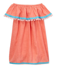 Peach and Blue Off-Shoulder Dress - Kids Wholesale Boutique Clothing, Dress - Girls Dresses, Yo Baby Wholesale - Yo Baby