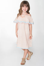 Blush and Light Blue Off-Shoulder Dress - Kids Wholesale Boutique Clothing, Dress - Girls Dresses, Yo Baby Wholesale - Yo Baby