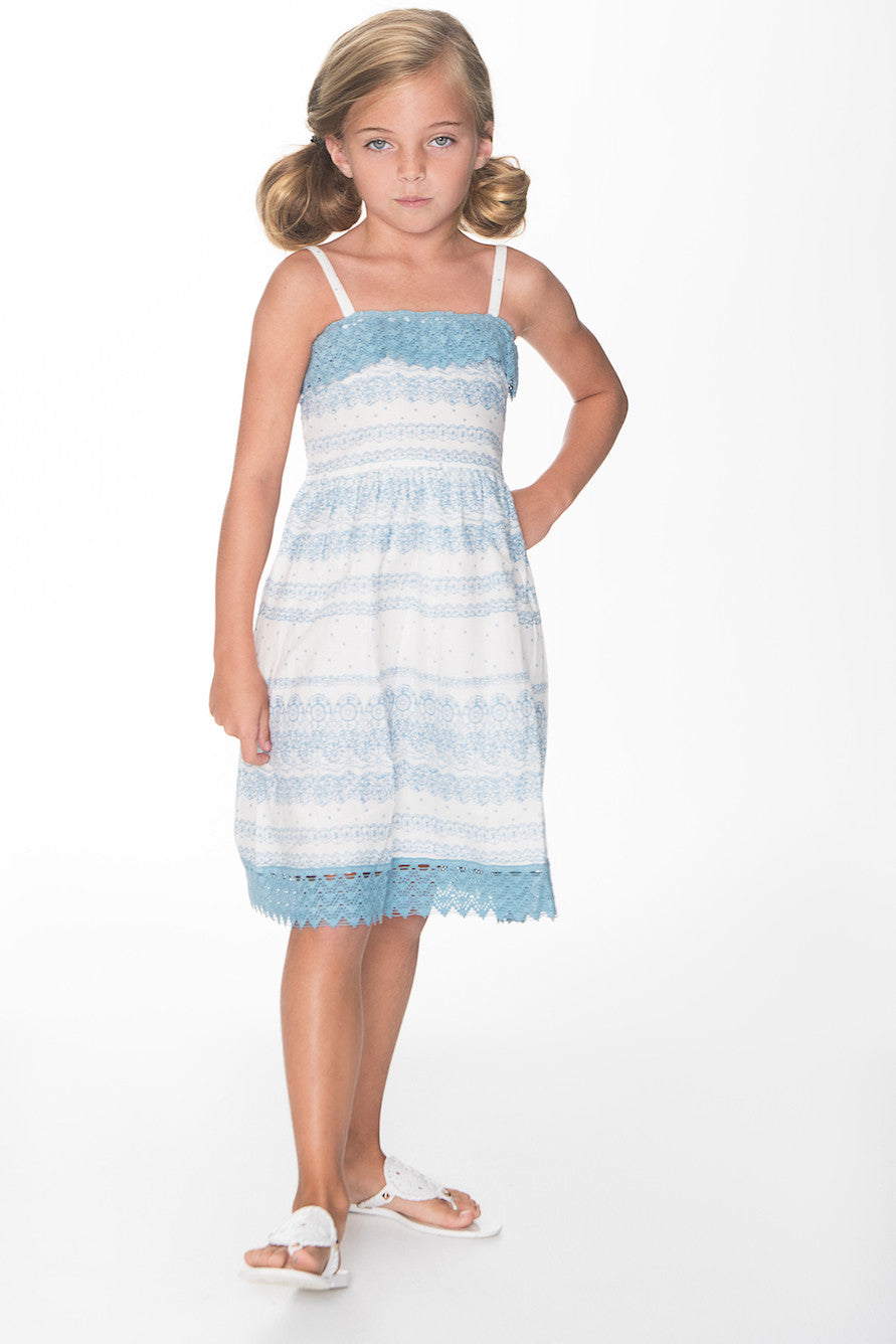 Light Blue and White Lace Dress - Kids Wholesale Boutique Clothing, Dress - Girls Dresses, Yo Baby Wholesale - Yo Baby