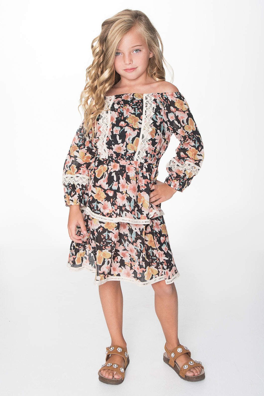 Black Floral print with Lace Detail Dress - Kids Wholesale Boutique Clothing, Dress - Girls Dresses, Yo Baby Wholesale - Yo Baby