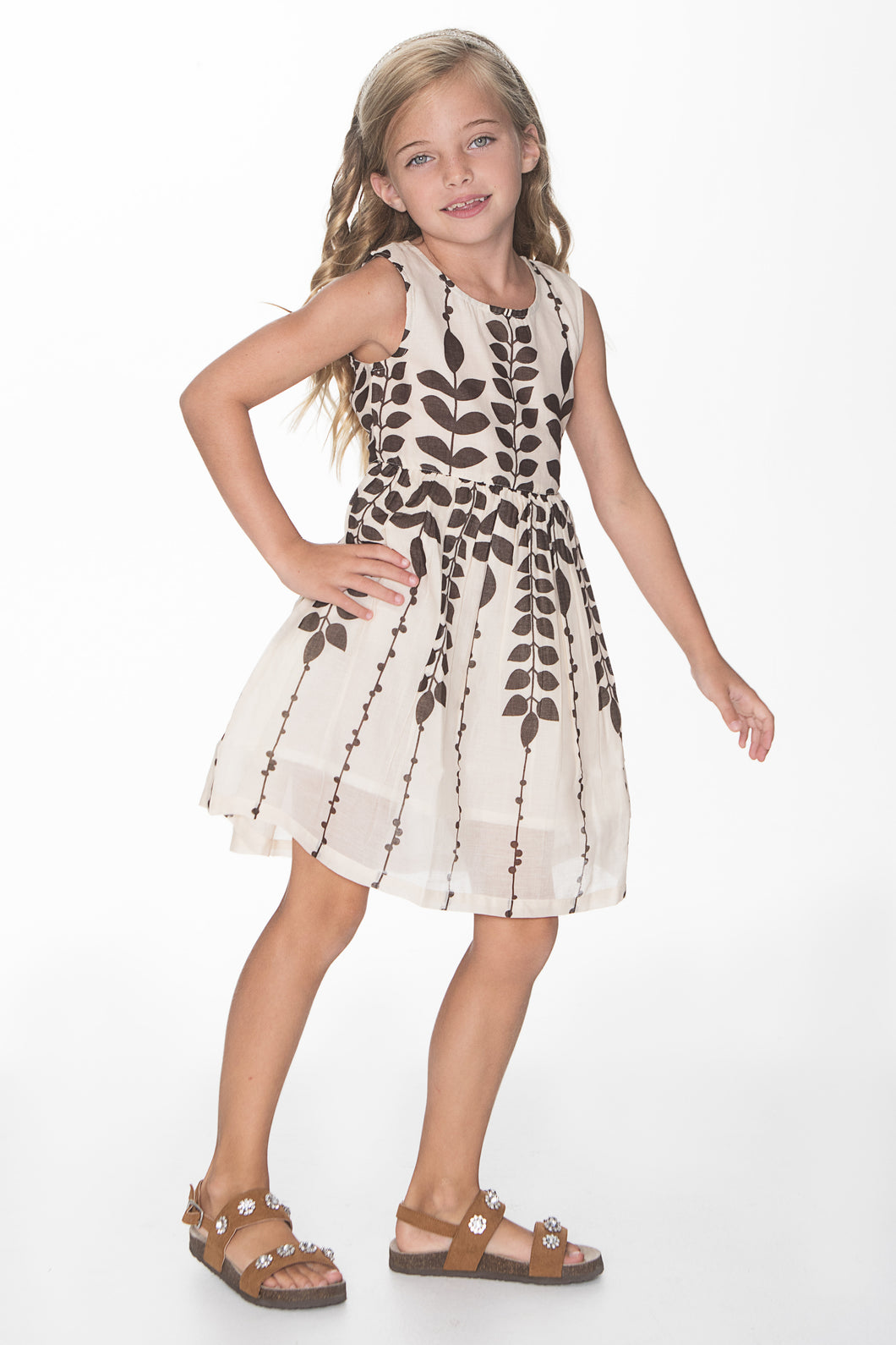 Off white and Brown Leaf Print Dress - Kids Wholesale Boutique Clothing, Dress - Girls Dresses, Yo Baby Wholesale - Yo Baby