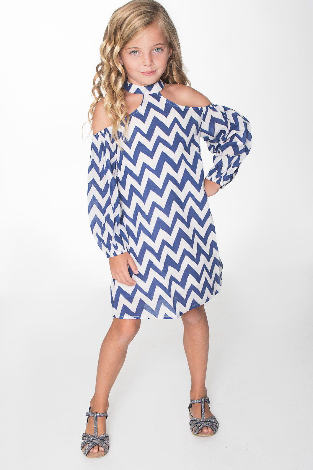Blue and White Cold Shoulder Chevron Dress - Kids Wholesale Boutique Clothing, Dress - Girls Dresses, Yo Baby Wholesale - Yo Baby