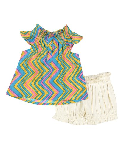 Multi-Color Chevron Print Top with Off White Shorts 2pc. Set - Kids Wholesale Boutique Clothing, 2-pc. set - Girls Dresses, Yo Baby Wholesale - Yo Baby