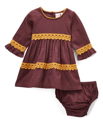 Burgundy With Yellow Lace Detail Swing Dress - Kids Wholesale Boutique Clothing, Dress - Girls Dresses, Yo Baby Wholesale - Yo Baby