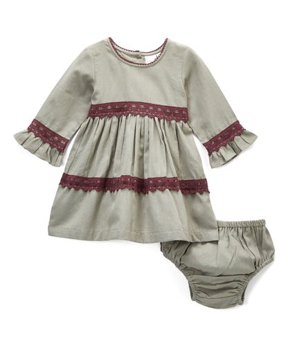 Grey With Burgundy Lace Detail Swing Dress - Kids Wholesale Boutique Clothing, Dress - Girls Dresses, Yo Baby Wholesale - Yo Baby