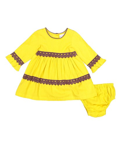 Yellow With Burgundy Lace Detail Swing Dress - Kids Wholesale Boutique Clothing, Dress - Girls Dresses, Yo Baby Wholesale - Yo Baby