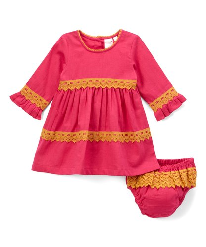 Pink With Yellow Lace Detail Swing Dress - Kids Wholesale Boutique Clothing, Dress - Girls Dresses, Yo Baby Wholesale - Yo Baby