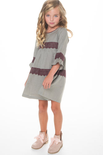 Grey Lace Dress - Kids Wholesale Boutique Clothing, Dress - Girls Dresses, Yo Baby Wholesale - Yo Baby