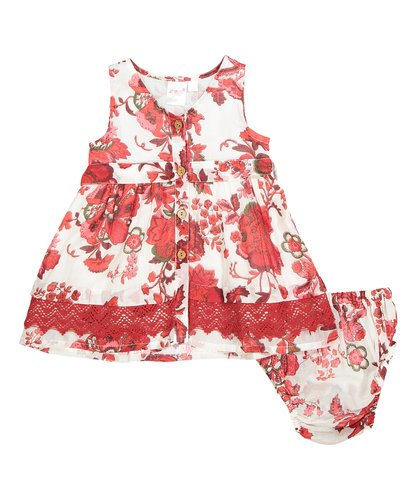 White and Red Floral Lace Detail Dress - Kids Wholesale Boutique Clothing, Dress - Girls Dresses, Yo Baby Wholesale - Yo Baby