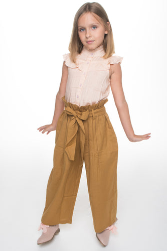 Blush Frill Top with Khakhi Paper Bag Pants 2 pc. Set - Kids Wholesale Boutique Clothing, 2-pc. set - Girls Dresses, Yo Baby Wholesale - Yo Baby