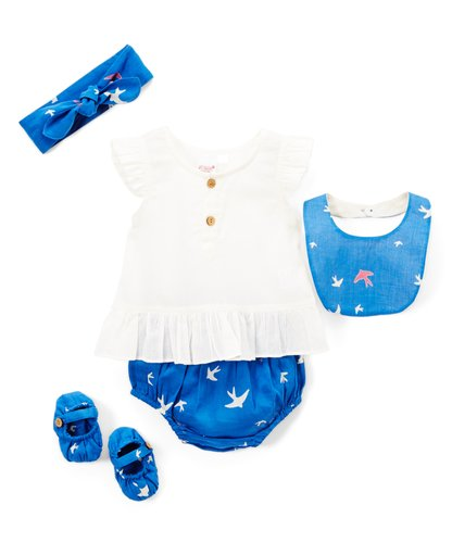 Blue Bird Print 5pc. Set - Kids Wholesale Boutique Clothing, Dress - Girls Dresses, Yo Baby Wholesale - Yo Baby