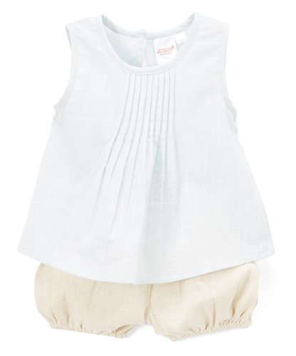 Baby Blue Pin-tuck Detail Top and Natural Shorts 2pc. set - Kids Wholesale Boutique Clothing, Dress - Girls Dresses, Yo Baby Wholesale - Yo Baby