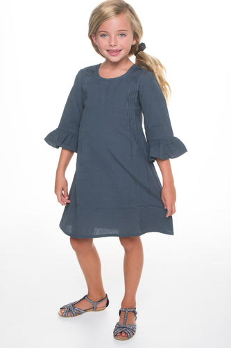 Grey Pin Tuck Detail Dress With Bell Sleeves - Kids Wholesale Boutique Clothing, Dress - Girls Dresses, Yo Baby Wholesale - Yo Baby