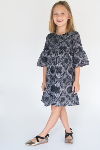 Navy Bell Sleeves Shift Dress - Kids Wholesale Boutique Clothing, Dress - Girls Dresses, Yo Baby Wholesale - Yo Baby