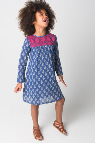 Blue & Purple Floral Shift Dress - Kids Wholesale Boutique Clothing, Dress - Girls Dresses, Yo Baby Wholesale - Yo Baby