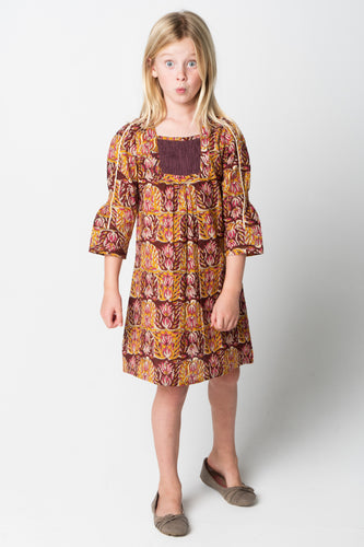 Orange & Persian Plum Smocked Floral Shift Dress With a Twill-String Sleeve Detail - Kids Wholesale Boutique Clothing, Dress - Girls Dresses, Yo Baby Wholesale - Yo Baby