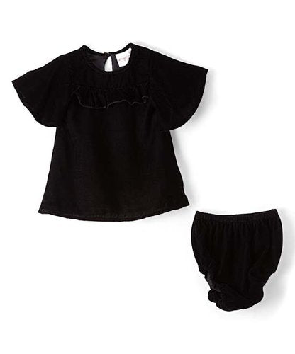Black Velvet Infant Ruffle Dress - Kids Wholesale Boutique Clothing, Dress - Girls Dresses, Yo Baby Wholesale - Yo Baby