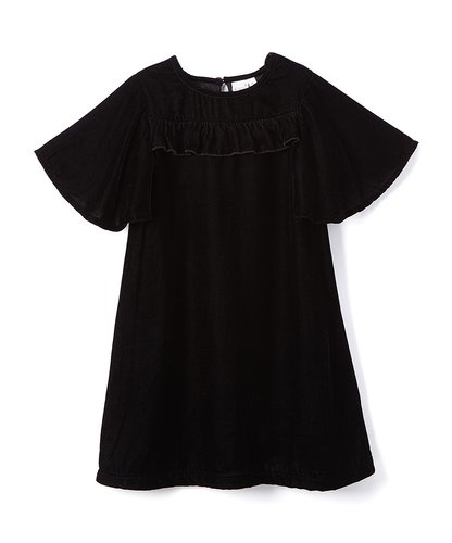 Black Velvet Ruffle Shift Dress - Kids Wholesale Boutique Clothing, Dress - Girls Dresses, Yo Baby Wholesale - Yo Baby