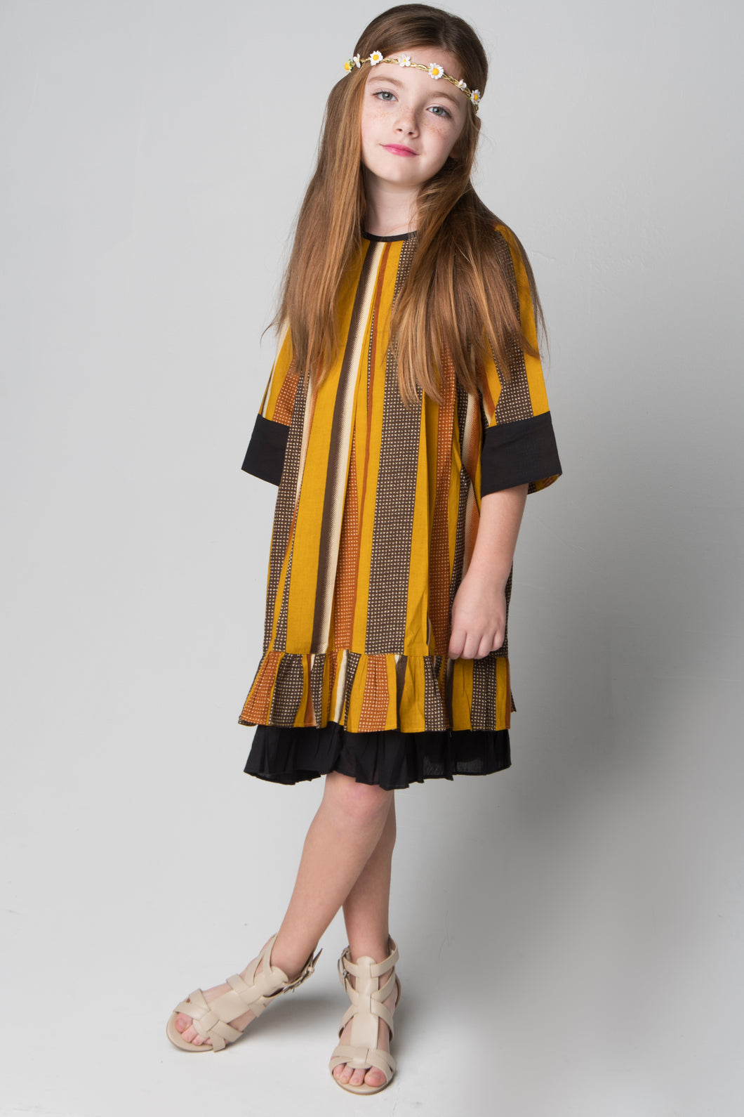 Black and Yellow Shift Dress - Kids Wholesale Boutique Clothing, Dress - Girls Dresses, Yo Baby Wholesale - Yo Baby