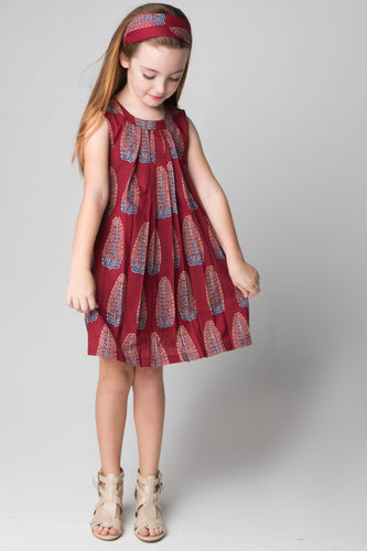 Maroon Leaf Print Pleated Shift Dress With Matching Headband - Kids Wholesale Boutique Clothing, Dress - Girls Dresses, Yo Baby Wholesale - Yo Baby