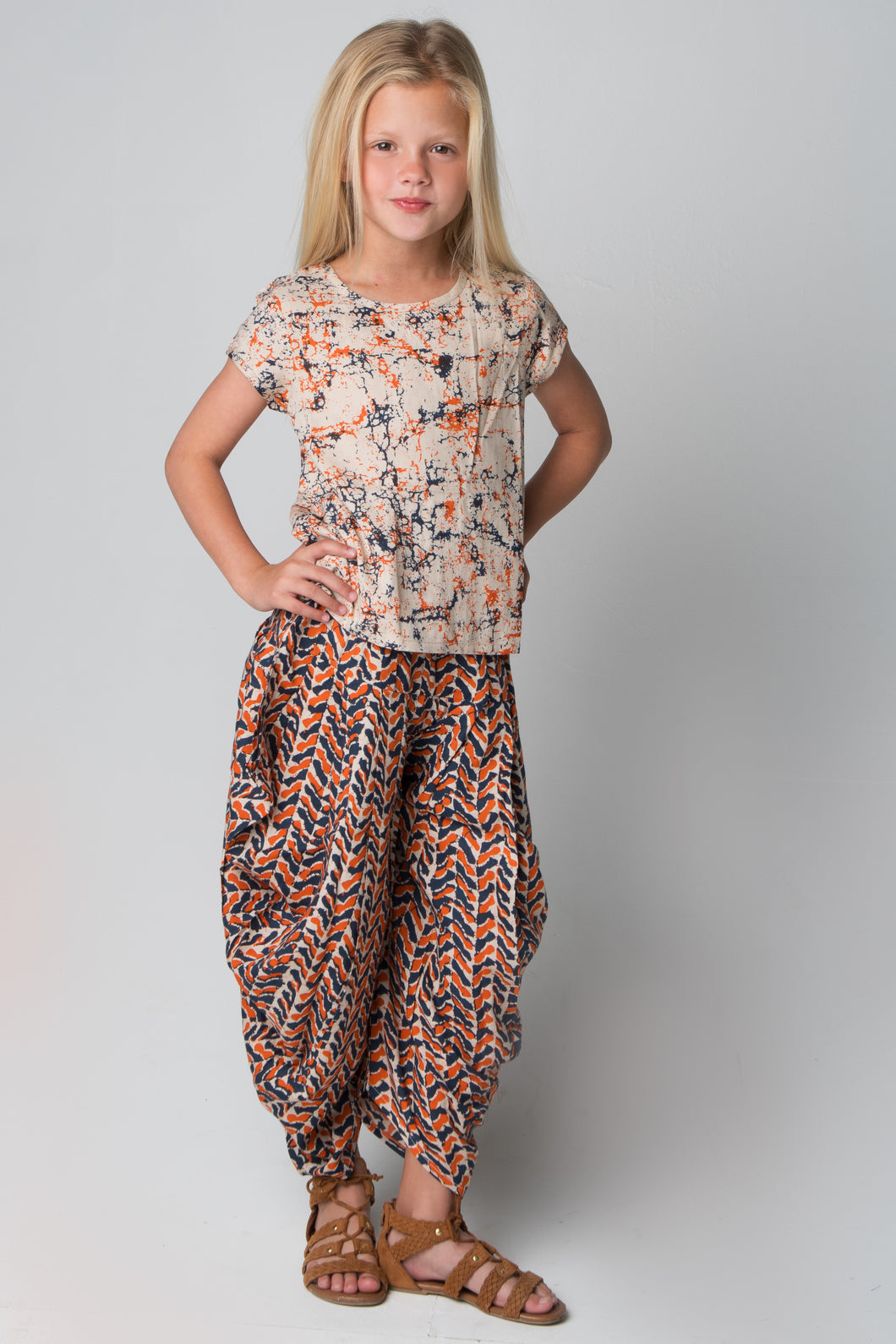 Orange & Navy Harem Pants and Top 2pc.Set - Kids Wholesale Boutique Clothing, 2-pc. set - Girls Dresses, Yo Baby Wholesale - Yo Baby