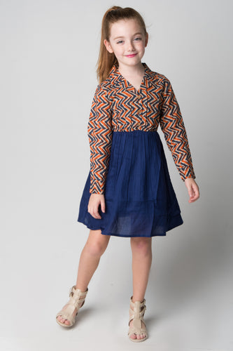Navy & Orange Chevron Shirt and Skirt One Piece Dress - Kids Wholesale Boutique Clothing, Dress - Girls Dresses, Yo Baby Wholesale - Yo Baby