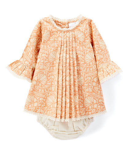 Pleated Peach Shift Dress With Lace Details & Diaper Cover - Kids Wholesale Boutique Clothing, Dress - Girls Dresses, Yo Baby Wholesale - Yo Baby