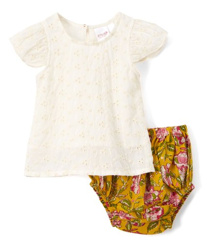 Floral Diaper cover and Embroidered top  2pc.set Top and Bottom - Kids Wholesale Boutique Clothing, 2-pc. set - Girls Dresses, Yo Baby Wholesale - Yo Baby