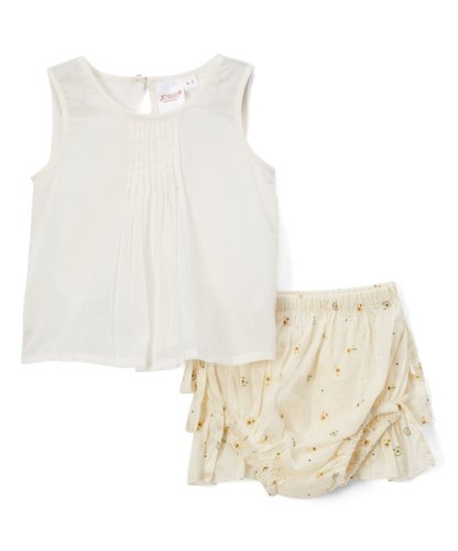 Cream Ruffled Diaper Cover and White Pintuck Top  2pc.set - Kids Wholesale Boutique Clothing, 2-pc. set - Girls Dresses, Yo Baby Wholesale - Yo Baby