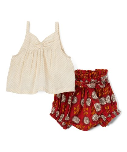Red Floral Shorts-Style diaper cover and Cream Tank Top  2pc.set - Kids Wholesale Boutique Clothing, 2-pc. set - Girls Dresses, Yo Baby Wholesale - Yo Baby