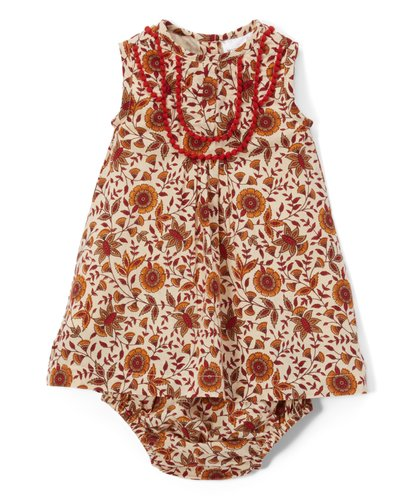 Red & Tan Infant Dress With lace Details & Matching Diaper Cover - Kids Wholesale Boutique Clothing, Dress - Girls Dresses, Yo Baby Wholesale - Yo Baby