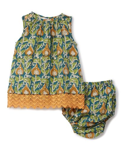 Green & Yellow Floral Lace-Hem Shift Dress with Diaper Cover 2pc.set - Kids Wholesale Boutique Clothing, 2-pc. set - Girls Dresses, Yo Baby Wholesale - Yo Baby