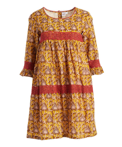 Yellow & Brown Floral Bell-Sleeve Dress - Kids Wholesale Boutique Clothing, Dress - Girls Dresses, Yo Baby Wholesale - Yo Baby