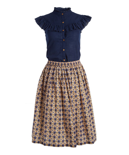 Navy Button-Up Top & Floral Skirt 2pc. set - Kids Wholesale Boutique Clothing, Dress - Girls Dresses, Yo Baby Wholesale - Yo Baby