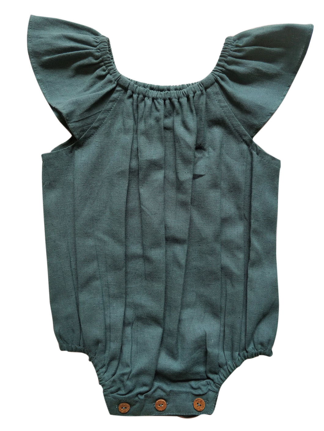 Teal Flutter Sleeves Infant Romper - Kids Wholesale Boutique Clothing, Dress - Girls Dresses, Yo Baby Wholesale - Yo Baby