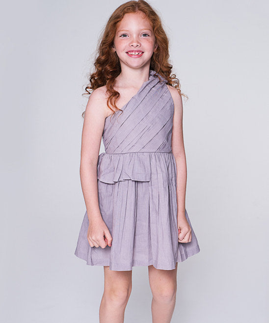 Lavender Single Shoulder Ruched Detail Dress - Kids Wholesale Boutique Clothing, Dress - Girls Dresses, Yo Baby Wholesale - Yo Baby